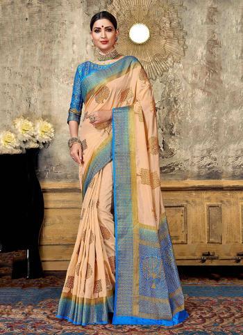 Traditional Wear Peach Nylon Silk Weaving Saree