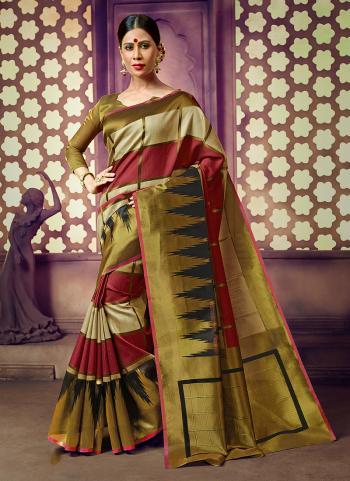 Festival Wear Green Cotton Weaving Saree