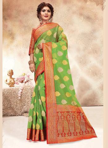 Wedding Wear Light Green Banarasi Silk Weaving Saree
