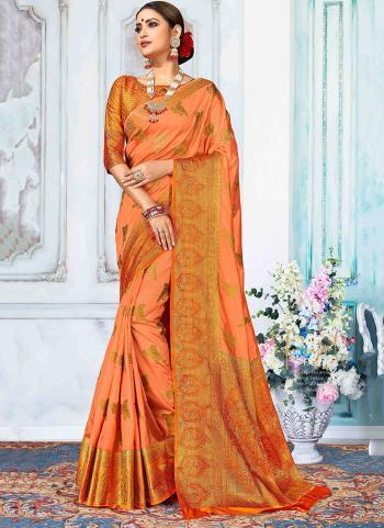 Party Wear Orange Nylon Silk Weaving Saree