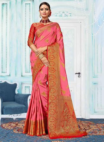 Party Wear Weaving Pink Nylon Silk Saree