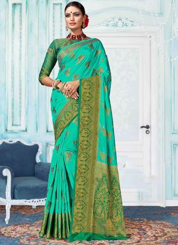 Party Wear Teal Green Nylon Silk Weaving Saree