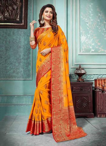 Festival Wear Orange Nylon Silk Weaving Saree