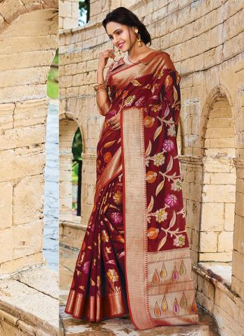 Traditional Wear Maroon Silk Weaving Saree