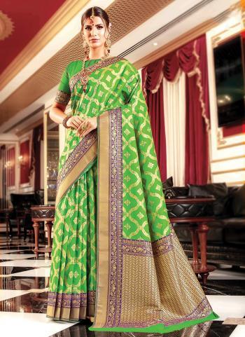 Wedding Wear Green Banarasi Silk Weaving Saree