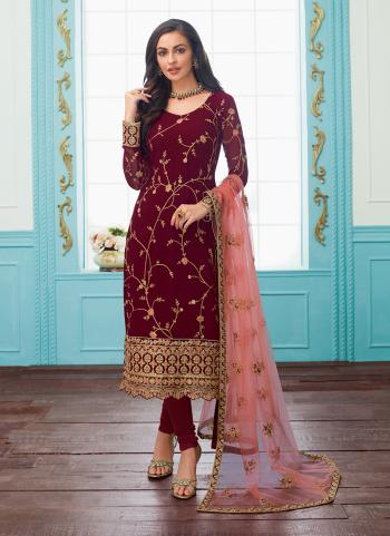 Party Wear Wine Georgette Embroidery Work Churidar Suit