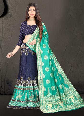 Festival Wear Navy Blue Silk Jacquard Lehenga Choli