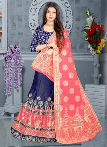 Festival Wear Pink Silk Jacquard Lehenga Choli