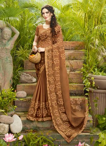 Traditional Wear Brown Silk Embroidery Work Saree