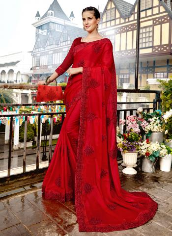 Traditional Wear Red Silk Embroidery Work Saree