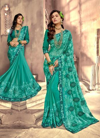 Festival Wear Green Silk Lace Work Saree