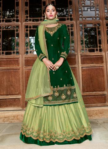 Wedding Wear Dark Green Velvet Embroidery Work Lehenga Suit