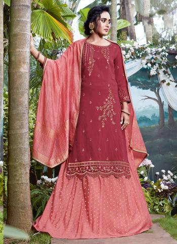 Reception Wear Pink Viscose Embroidery Work Lehenga Suit