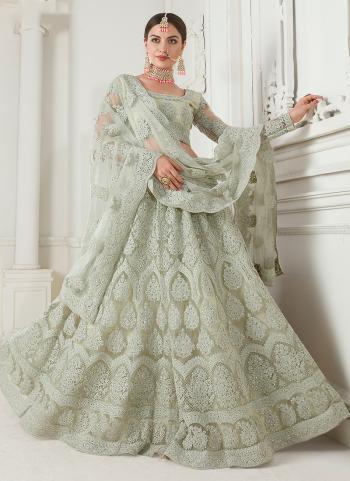 Bridal Wear Green Net Embroidery Work Lehenga Choli