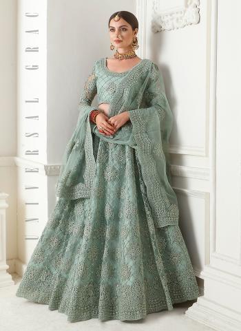Bridal Wear Ice Blue Net Embroidery Work Lehenga Choli
