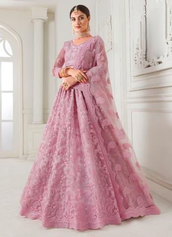 Bridal Wear Pink Net Embroidery Work Lehenga Choli