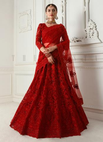 Bridal Wear Red Net Embroidery Work Lehenga Choli