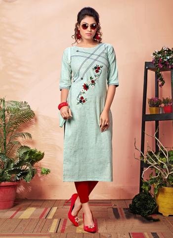 Daily Wear Blue Khadi Silk Hand Work Kurti