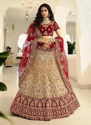 Bridal Wear Beige Silk Embroidery Work Lehenga Choli