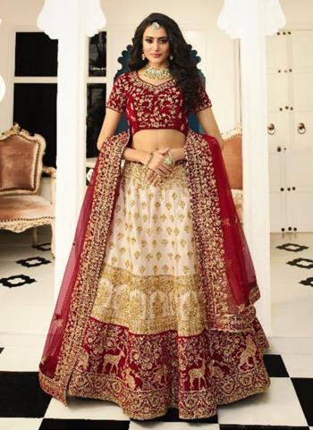 Bridal Wear Cream Silk Embroidery Lehenga Choli
