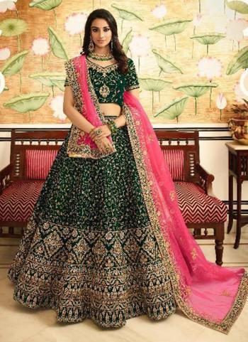 Bridal Wear Green Silk Embroidery Lehenga Choli