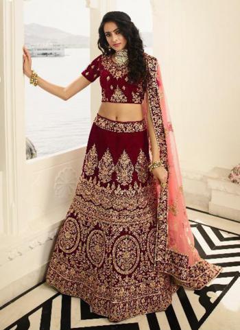 Bridal Wear Maroon Silk Embroidery Lehenga Choli