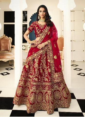Bridal Wear Maroon Silk Embroidery Work Lehenga Choli