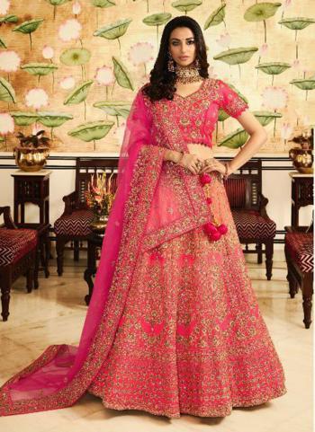 Bridal Wear Pink Silk Embroidery Work Lehenga Choli