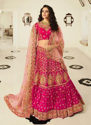 Bridal Wear Rani Silk Embroidery Work Lehenga Choli