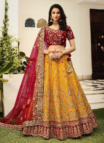 Bridal Wear Yellow Silk Embroidery Lehenga Choli