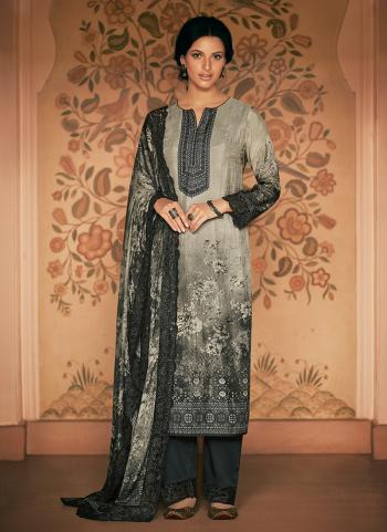 Silk Grey Festival Wear Embroidery Work Straight Suit