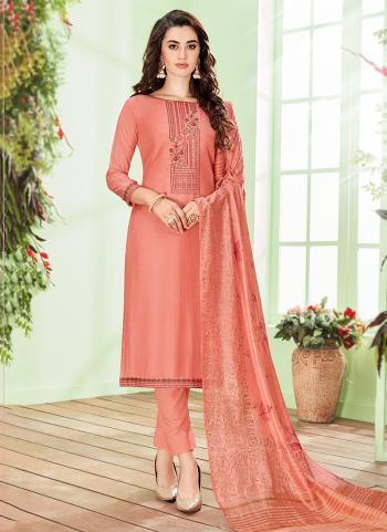 Cotton Silk Peach Casual Wear Embroidery Work Churidar Suit