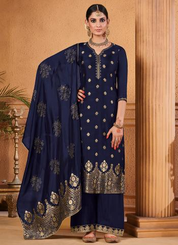 Jacquard Navy Blue Party Wear Silk Palazzo Suit