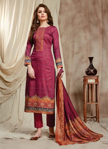 Cotton Pink Traditional Wear Embroidery Work Straight Suit