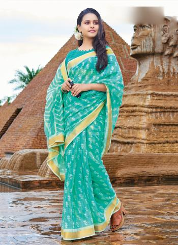 Cotton Teal Daily Wear Printed Work Saree