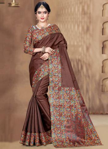 Silk Brown Traditional Wear Khadi Saree