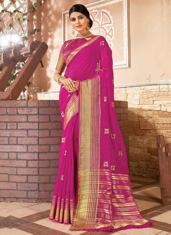 Silk Rani Festival Wear Weaving Saree