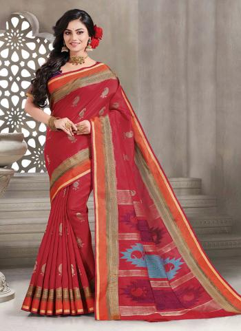 Silk Red Traditional Wear Handloom Saree