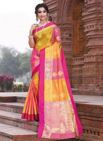 Silk Yellow Party Wear Handloom Saree
