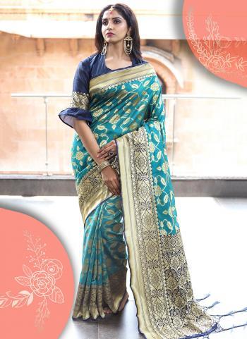 Art Silk Sky Blue Wedding Wear Weaving Saree