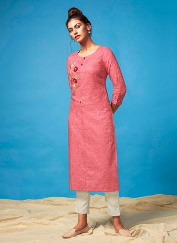 Cotton Pink Casual Wear Embroidery Work Kurti With Bottom