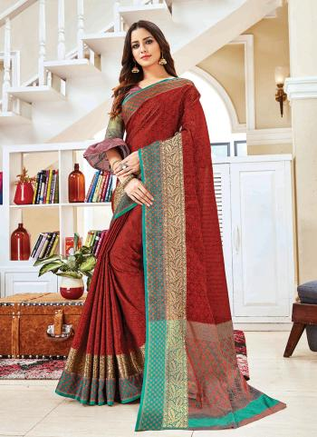 Silk Red Party Wear Weaving Saree