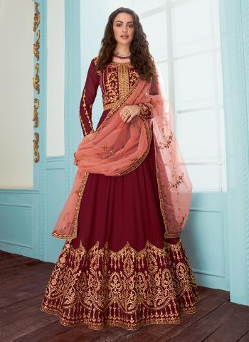 Embroidery Work Georgette Red Wedding Wear Anarkali Suit
