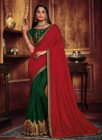 Red Silk Party Wear Border Work Saree