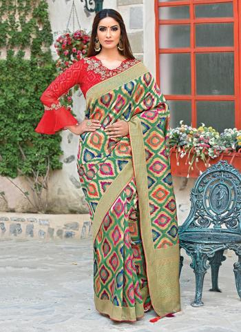 Multi Color Wedding Wear Silk Weaving Saree
