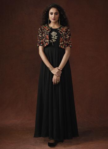 Black Lycra Party Wear Resham Work Gown