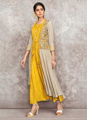 Yellow Rayon Casual Wear Embroidery Work Kurti