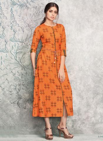 Orange Rayon Regular Wear Printed Work Kurti