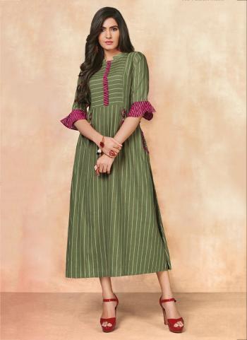 Green Rayon Daily Wear Printed Work Kurti