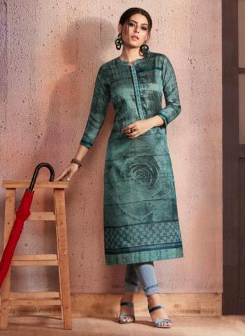 Green Rangoli Daily Wear Printed Work Kurti